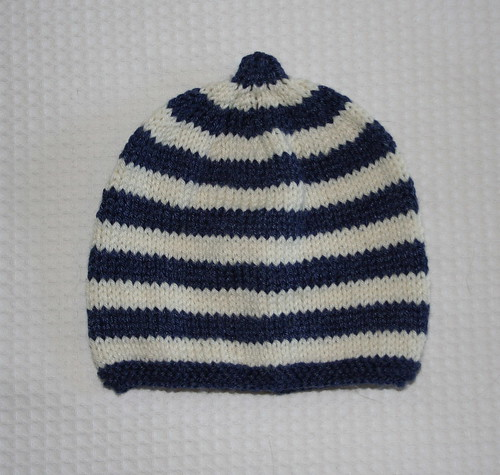 Navy stripy baby hat
