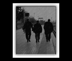LOS TRES JINETES SOLITARIOS. the three lone riders (AITANA64) Tags: sunset espaa men blancoynegro station train contraluz atardecer spain bn badajoz don hombres benito railes extremadura vias shiloutte estaciontren olympuse510aitana64atardecer