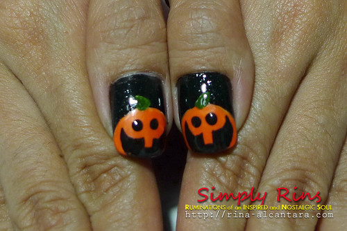 Nail Art Halloween Peeping Pumpkins 07