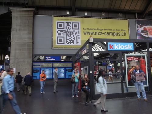 Giant QR code in Zurich Hauptbahnhof