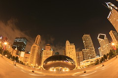 chicago symmetry (tgagephoto) Tags: longexposure travel chicago night canon michiganave milleniumpark 5d cloudgate coolest copyrighted pbtfavoriteoftheday ihveissues mustseebig pbt062807 tomgagephotography tgage