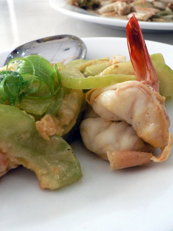 bittergourd fried with salted egg yolk and prawns