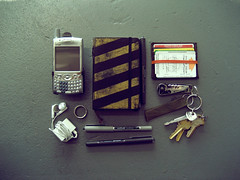 The Items I Carry (Joshua Blankenship) Tags: moleskine keys treo wallet joshuablankenship personaleffects pocketknife personalitems theitemswecarry