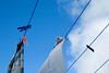 Strange hobby (Wen Nag (aliasgrace)) Tags: blue sky white norway clouds lookingup manmade bigcalm hein fabrics clothespeg hardangervidda heinsæter