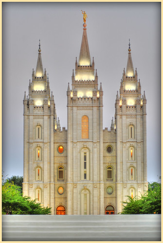 Salt Lake LDS Temple at dawn
