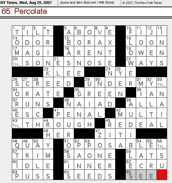 Rex Parker Does the NYT Crossword Puzzle: August 2007