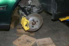 Completed Front Brake Assembly (Dave Linger) Tags: yellow vw volkswagen painted brakes cabrio rotor caliper slotted