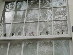 Apartment window display (blind_donkey) Tags: street city white reflection tree window amsterdam design iamsterdam dolls display nederland ornament ornaments curtains windowdisplay displaywindow