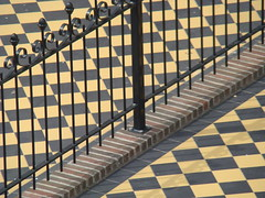 chess anyone? (skylinejunkie) Tags: holland netherlands lines fence tile iron scheveningen steps diagonal checkered