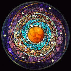 Celestial Clockwork (artglassmosaics) Tags: glass mosaic mandala stained planet celestial mandalas artglassmosaics