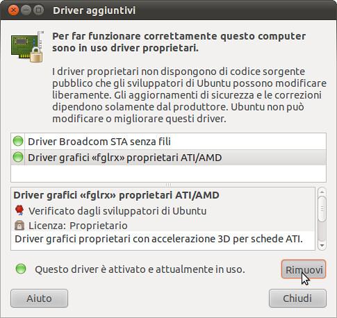 Figura 2 - Rimozione driver grafico ATI/AMD da Driver aggiuntivi;