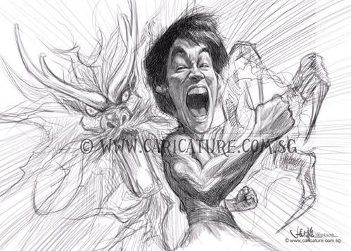 digital caricature sketch of furious Bruce Lee - 2 watermark