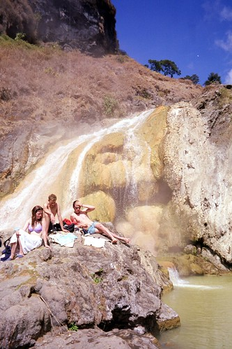 Hot springs and hot waterfall