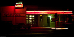 Vinsetta Garage at night, Royal Oak, Michigan, July 2007 (1x2 crop) - by Conlawprof