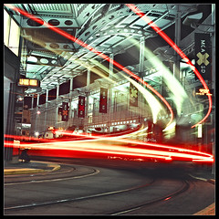 Trolley Station | Film Version (Kent Mercurio) Tags: longexposure 120 6x6 tlr film mediumformat square downtown sandiego trolley twinlensreflex kance yashicamat124g trolleystation lightstream nightimage gitzogt2530exexplorer bogenmanfrotto322rc2 agfaxpsportrait160pro kentmercuriocom kentmercurio