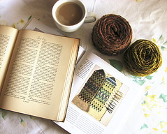 reading (madelinetosh) Tags: coffee reading knitting handspun janeeyre bohus poemsofcolor