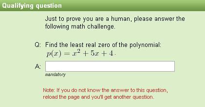 Captcha matemático - Determinación de una raíz real de un polinomio