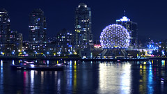 Science World at Night (Lloyd K. Barnes Photography) Tags: world city canada skyline night vancouver lights cityscape bc nightscape britishcolumbia science views dome falsecreek scienceworld zd 40150mm supershot interestingness26 i500 beautyisintheeyeofthebeholder views2000 mywinners aplusphoto frhwofavs lloydbarnes excapture explore20070812 lloydkbarnes
