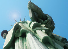 Robes, spikes and a torch (Lori Greig) Tags: nyc newyorkcity travel usa ny newyork storm tourism monument statue america liberty harbor bloomberg sandy hurricane perspective explore torch crown statueofliberty immigration ellisisland robes ladyliberty exploresep11