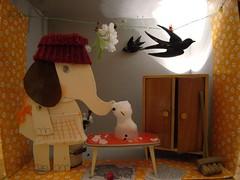 ....don't leave me, little friend (virginhoney) Tags: elephant kitchen paper snowman scenery melting doll puppet companion companions misse dontleavemelittlefriend