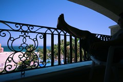 Hard Day of Relaxing, Day 354 of 365 (DieselDemon) Tags: ocean selfportrait man male mexico hotel sand view balcony palmtrees pools railing cabosanlucas selfy finisterra 365project gulfofcortez