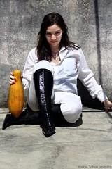 La Lechosa Mecnica (tatadbb) Tags: portrait woman white selfportrait film blanco halloween alex girl canon movie mujer retrato venezuela mulher autoretrato papaya violence pelicula botas s