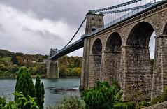Menai Rivers To Cross... (Chris H#) Tags: bridge trees water steel cables limestone wikipedia suspensionbridge thomastelford s3000 northwales menaistraits menaibridge anglessey nikond5000 menairiverstocross