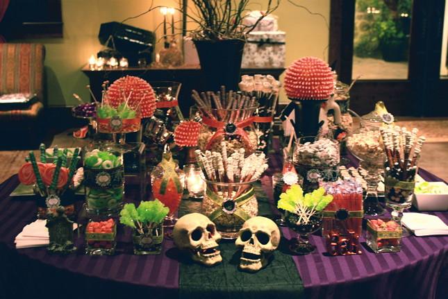 Halloween night wedding sweets table
