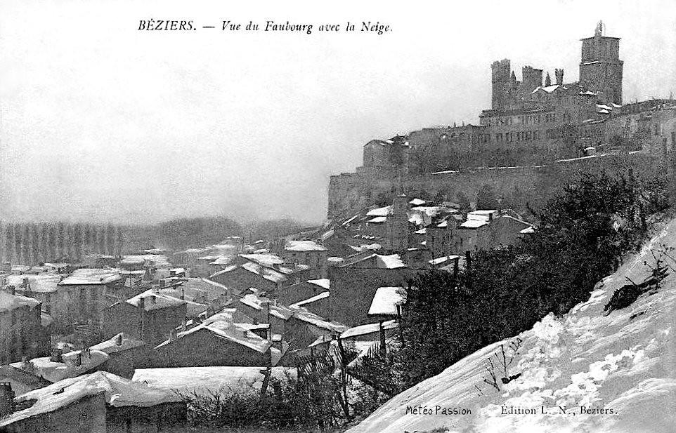 Béziers sous une neige épaisse en janvier 1914