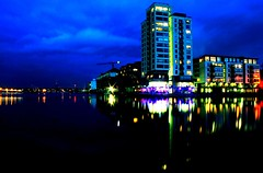 Grand Canal Dock (Dave G Kelly) Tags: longexposure ireland dublin reflection building water night lights noche dock apartment noite notte dublino apartmentblock irlanda irlande dubln  irlandia   top20dublin        davegkelly