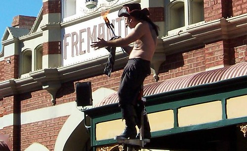 Sword swallower at Fremantle Markets