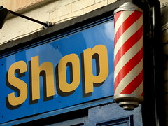 barbers pole (Harry Halibut) Tags: road blue red london yellow shop sheffield pole allrightsreserved barbers redsheff andrewpettigrew