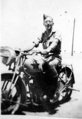 Dad in Egypt on motorbike in WWII