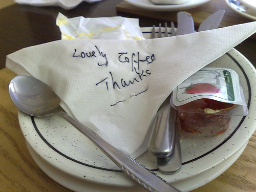 napkin with lovely coffee, thank you written on it