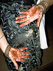Peacock dress, and henna