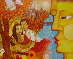 September Breath (Paul N Grech) Tags: life city autumn paris france art fall love seine modern river painting paul kiss energy guitar contemporary dove romance passion oil embrace cubist cubism grech paulgrech