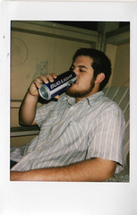 bud light vs. high life (krysta o) Tags: justin fuji mini tiny instant budlight instax tallcan owldrawing walletsized