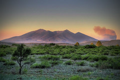 San Francisco Peaks/Schultz Fire - Flagstaff, Arizona (HDR) (Logan Brumm Photography and Design) Tags: camping sunset summer camp arizona lake reflection tree water grass june sunrise shower fire photography photo spring pond haze san francisco warm university williams smoke peak schultz flagstaff logan northern hdr scholz 2010 nau brumm meteorshower meteror lbrumm