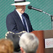 Artist, Bud Bottoms, speaking at Dolphin Fountain Dedication