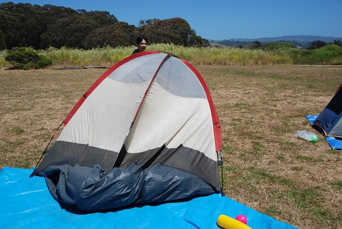 Windblown tent