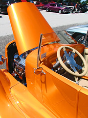 (cw3283) Tags: door orange cars ford mirror antique engine vehicles hood motor steeringwheel antiquecars windsheild antiquecarshow highlightandshadow boothscorner