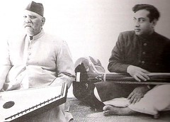 Ustad Bade Ghulam Ali Khan and his younger son, Ustad Munawar Ali Khan around 1963 (kishoriray) Tags: music bade indian father son ali classical khan vocal munawar patiala ustad ghulam kasur gharana
