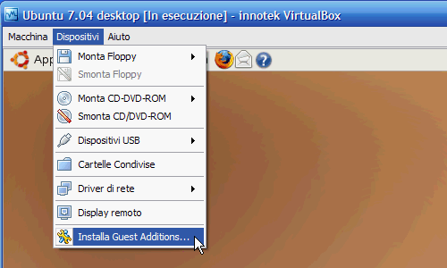 Fig. 7 - installazione Guest Addition in Ubuntu - caricamento Guest Additions