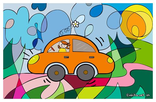 Un coche naranja