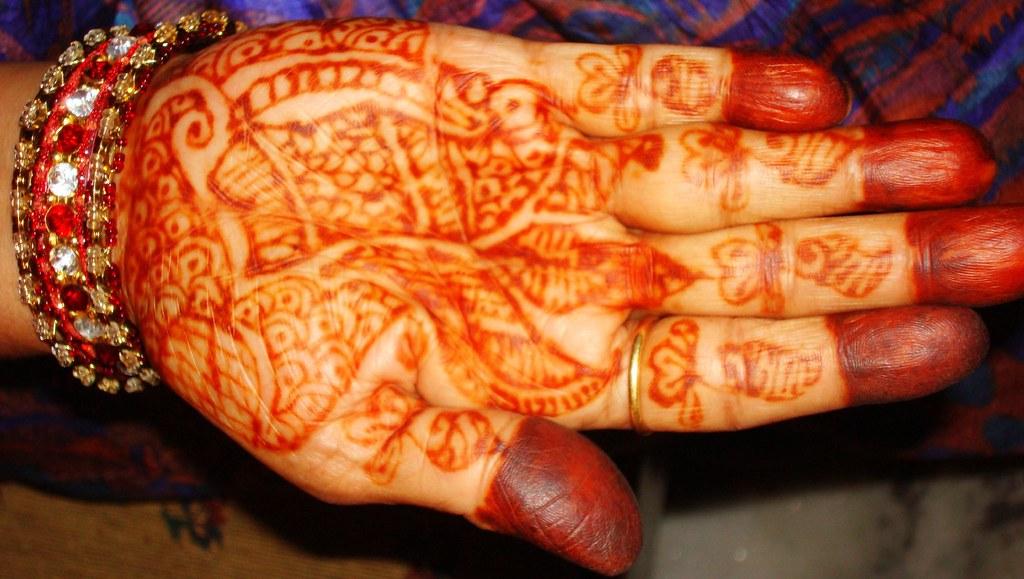 Decorated Hand-mehndi design