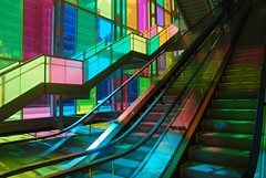 Palais des congrs de Montral (androosh) Tags: pink blue light shadow canada color colour green glass colors yellow stairs rainbow heaven quebec montreal escalator dream pastels palaisdescongres aplusphoto colourartaward artlegacy thebestpool