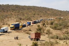 TRUCKING IN TANZANIA (Claude  BARUTEL) Tags: africa road truck tanzania traffic desert transport off dust jam scania