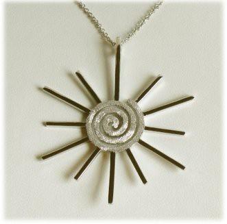 Sterling Silver Swirling Sun Pendant