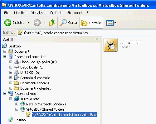 Fig. 10 - VirtualBox cartelle condivise - Cartella condivisa visibile dal guest