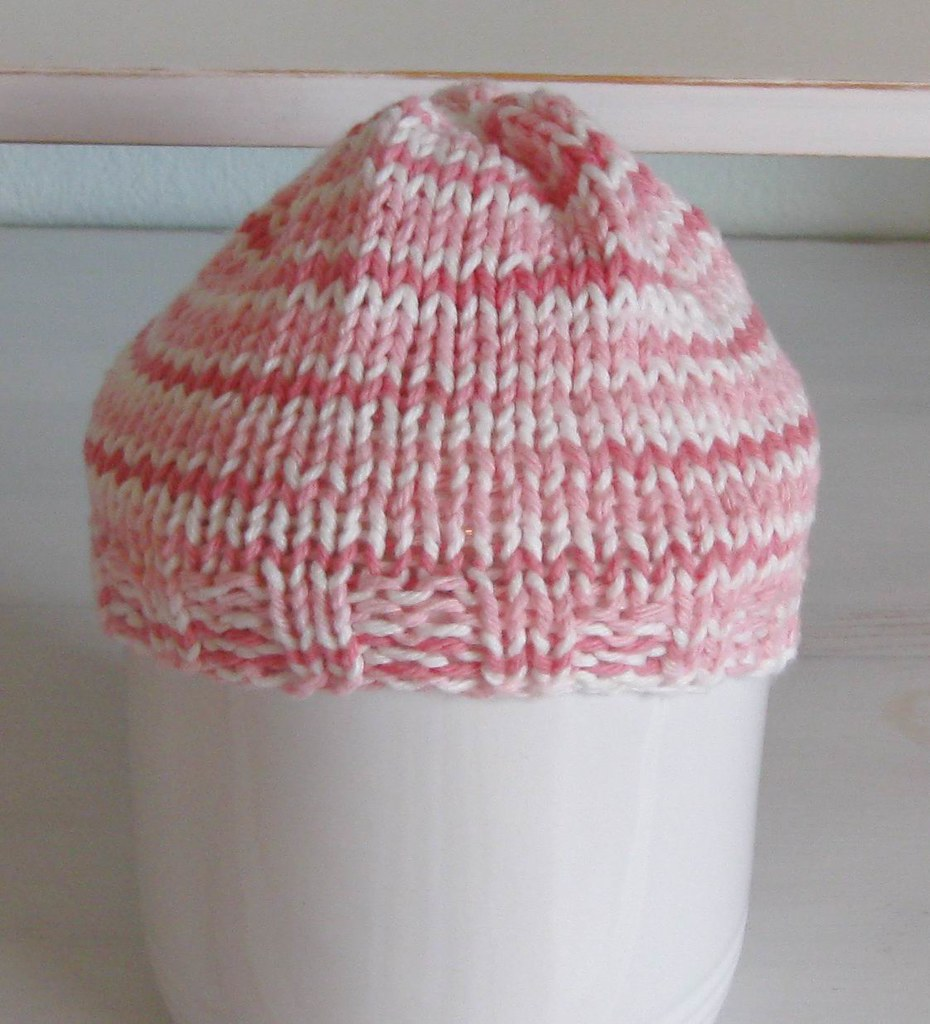 BABY HAT- Pink and White